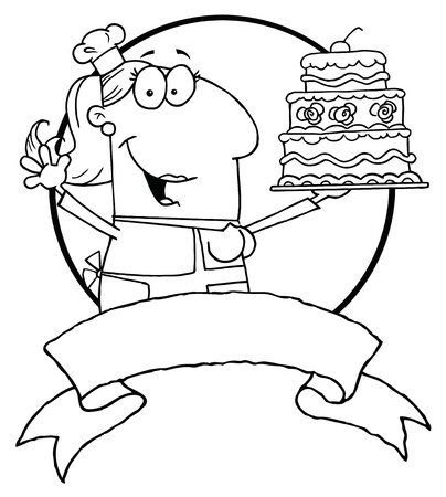 Outlined Woman Holding Up A Cake Over A Blank Banner And Circle Vector