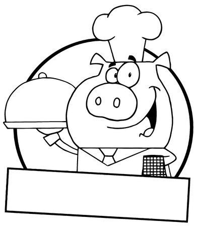Outlined Pig Waiter Serving A Platter With A Text Box Vector