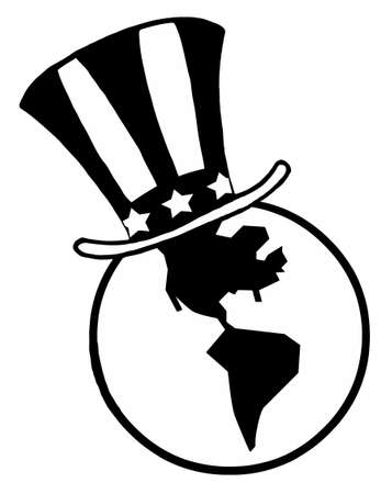 tophat: Outlined Globe with American Patriotic Hat