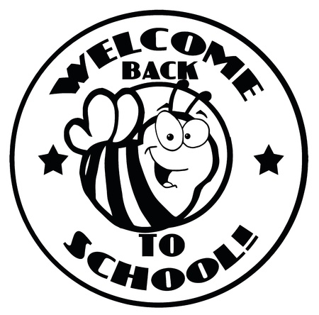 Black And White Welcome Back To School Bee Circle Vector