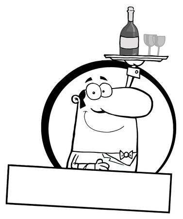 pleasant: Pleasant Outlined Butler Serving Wine Over A Blank Text Box