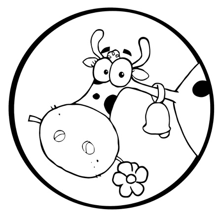 Black And White Farm Cow Munching On A Flower In A Circle Vector