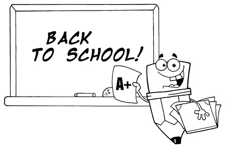 renderings: Outlined Pencil Character Holding An A Plus Report Card Illustration