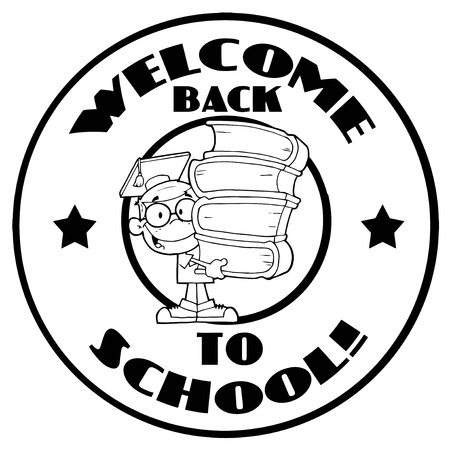 Black And White School Boy With Books On A Welcome Back To School Circle Stock Vector - 16512070
