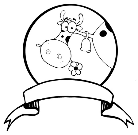 Black And White Dairy Farm Cow Eating A Flower In A Circle Over A Blank Banner