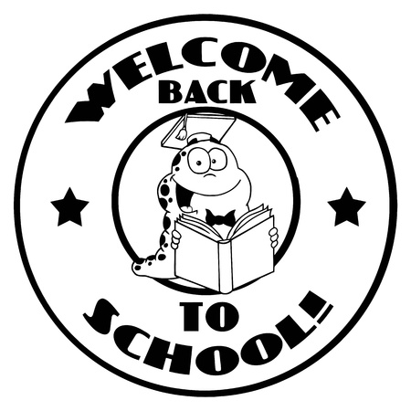book worm: Black And White Reading Worm On A Welcome Back To School Circle Illustration