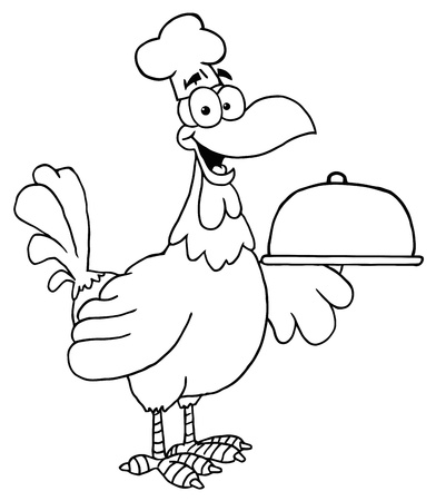 Outlined Rooster Chef Serving A Platter Vector