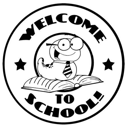 gusanos: Gusano Blanco y negro en una parte posterior Circle Bienvenido a la Escuela Vectores