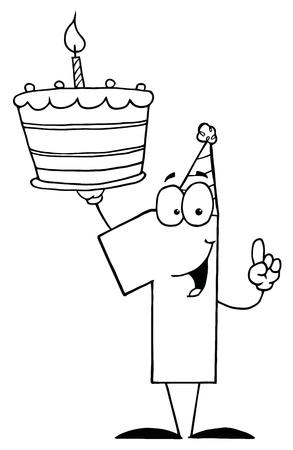 number candles: N�mero Uno Outlined sosteniendo una torta de cumplea�os Primera Vectores