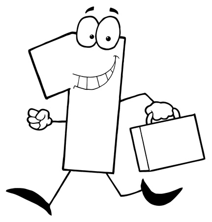Outlined Number One Guy Carrying A Briefcase Or Suitcase Vector