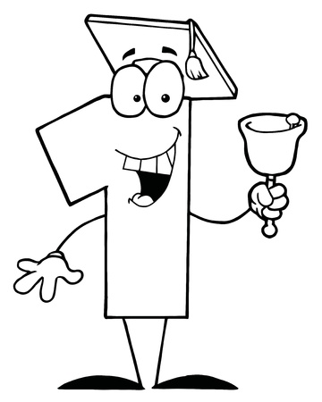 Outlined Number One Character Wearing A Graduation Cap And Ringing A Bell Vector