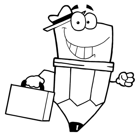 renderings: Outlined Pencil Guy Businessman Carrying A Briefcase