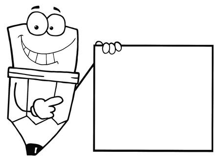 dibujos para colorear: L�piz Outlined individuo con un cartel en blanco