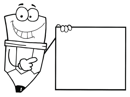 Outlined Pencil Guy Holding A Blank Sign Vector