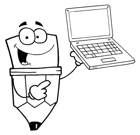 Outlined Pencil Guy Holding A Laptop Vector