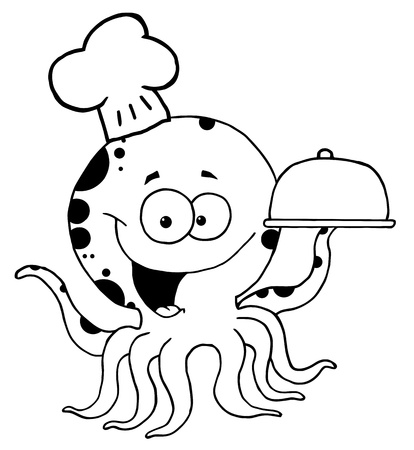 Outlined Octopus Chef Vector