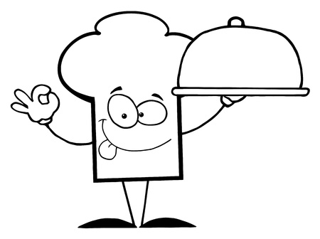 Outlined Chef Hat Guy Holding A Platter Vector
