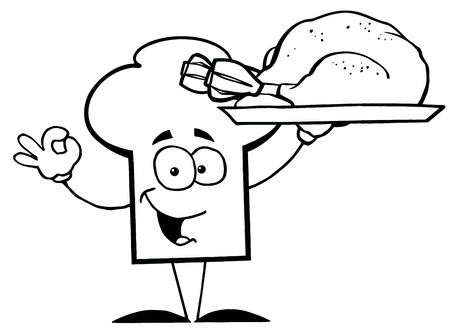 Outlined Chef Hat Guy Serving a Turkey Vector