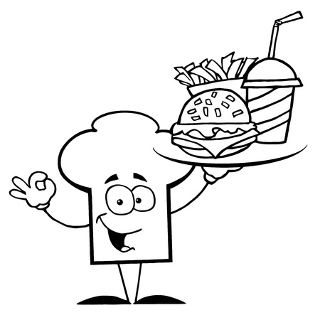 Outlined Chef Hat Guy Serving Fast Food Vector