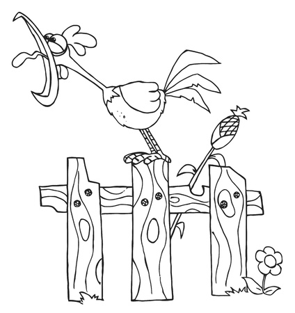 corn stalk: Outline Of A Loud Rooster Crowing On A Fence By A Corn Stalk Illustration