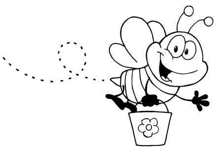 royalty free: Black And White Honey Bee Flying With A Bucket And Waving