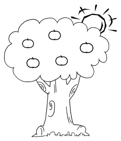 dibujos para colorear: Esquema del sol detrás de un árbol de manzanas