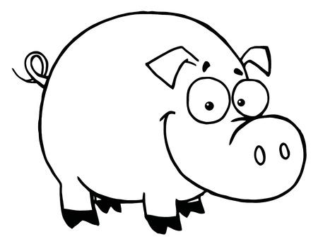 Outline Of A Happy Smiling Pig Illustration