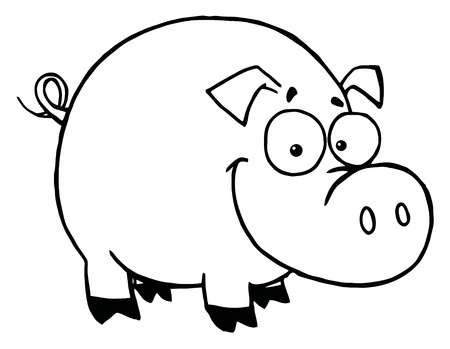 Outline Of A Happy Smiling Pig Illustration