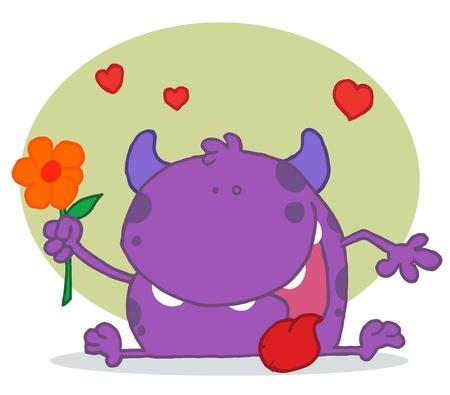 Happy Purple Monster Holding A Yellow Flower Stock Vector - 16622978