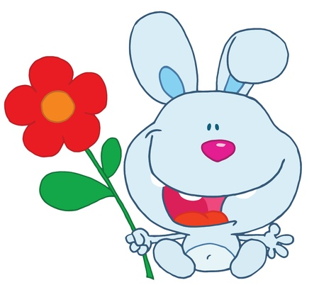 renders: Blue Bunny Holding A Flower