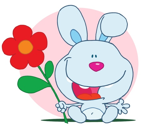 amorous: Bunny Holds Flower Illustration