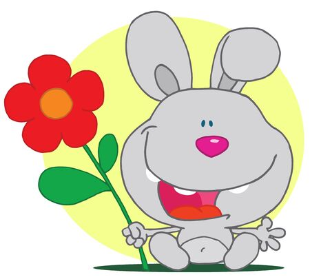 Bunny Holds Flower Vector