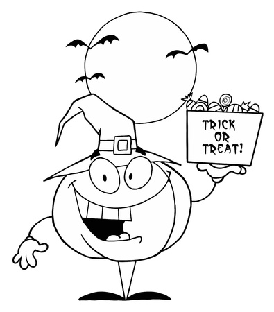 Outlined Halloween Pumpkin With Candy Stock Vector - 16622988