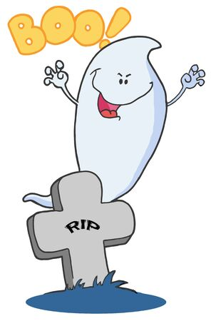 Scary Halloween Ghost Emerging Behind A Tombstone Stock Vector - 16598169