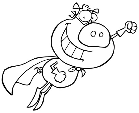 heros: Black And White Super Pig Flying With A Cape