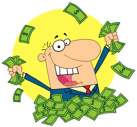 Happy Salesman Playing In A Pile Of Money Stock Vector - 16598237