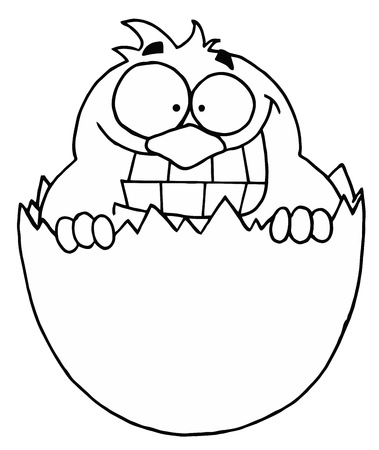 Outlined Chick in Egg Shell Vector