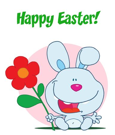 Happy Easter Greeting Over Sitting Blue Bunny With A Flower, In Front Of A Pink Circle Stock Vector - 16597281