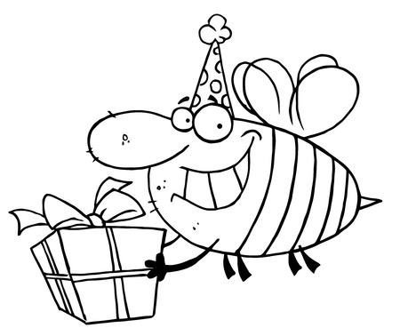 Outlined Birthday Bee Stock Vector - 16597278