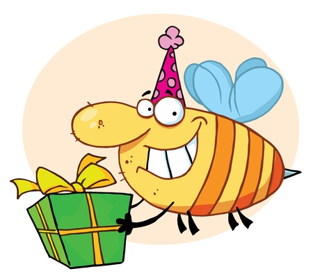 b day party: Bee Carries Gift