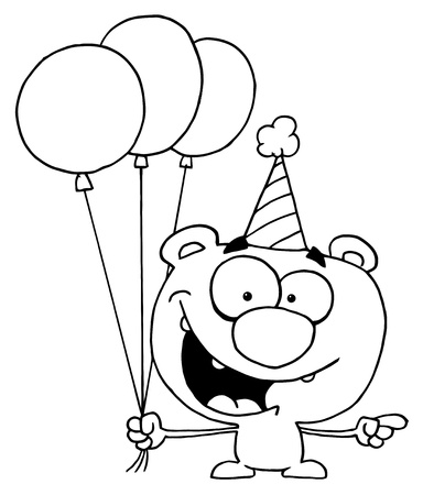 Outlined Birthday Bear Vector