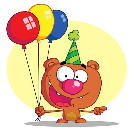b day party: Bear In Party Hat With Balloons Illustration