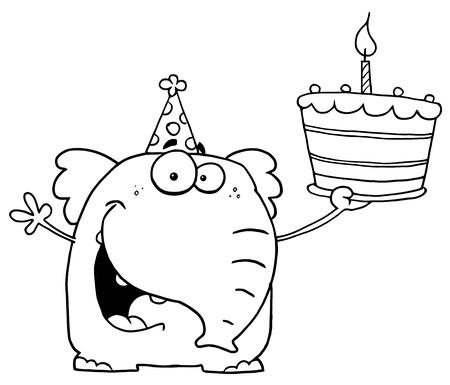 b day party: Outlined Birthday Elephant Illustration
