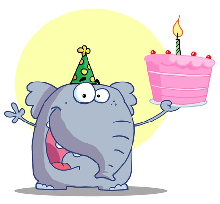 b day party: Happy Elephant Holds Birthday Cake