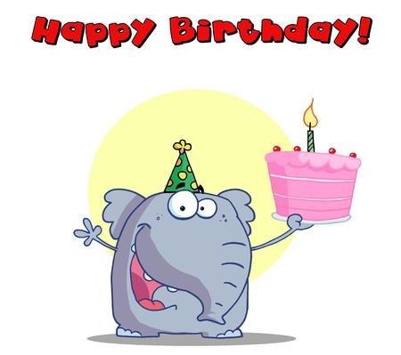 Happy Birthday Greeting Of An Elephant Holding Cake Stock Vector - 16597286