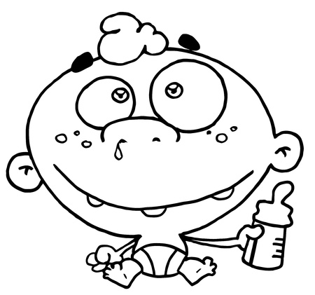 snotty: Outlined Baby With Bottle Illustration