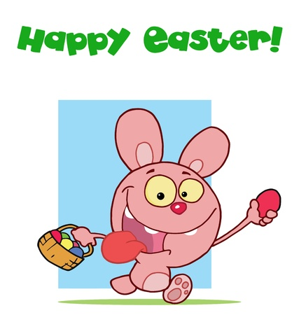 Pink easter rabbit running and holding up an egg and carrying a basket Stock Vector - 16597279