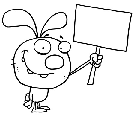 Outlined Bunny With Sign Vector
