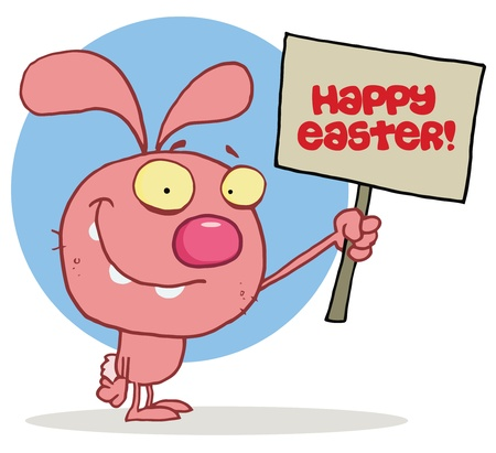 Pink Bunny Rabbit Holding Up A Happy Easter Greeting Sign, Over A Blue Circle, On A White Background Stock Vector - 16595767