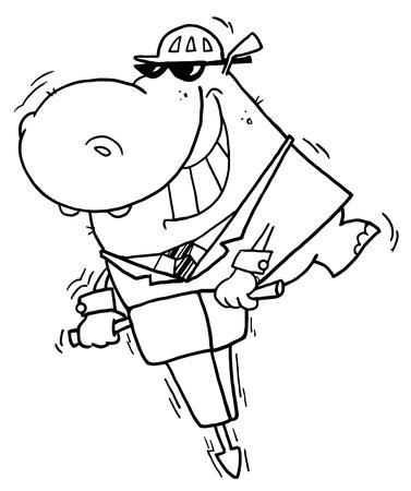 Outlined Jackhammer Hippo Vector